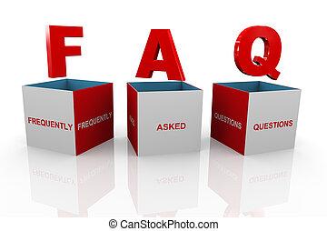 caja, faq, -, preguntas, frequently, preguntado, 3d