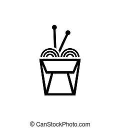 caja, fideo, palos, chino, plano, vector, icono
