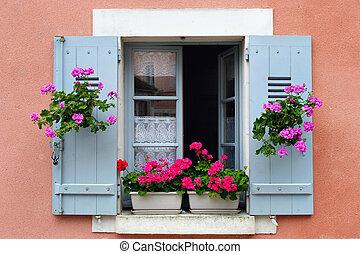caja, floreza arreglo, francia, ventana, borgoña
