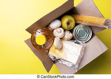 caja, fondo., alimento, copia, amarillo, donación, space.