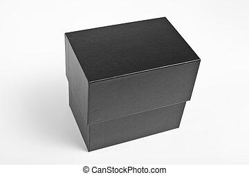 caja, fondo., blanco, negro