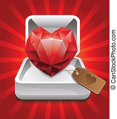 caja, forma corazón, rubí