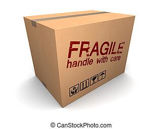 caja, frágil, cartón