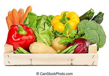 caja, fresco, de madera, vegetales