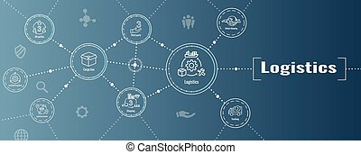 caja, gente, bandera, logística, edificios, conjunto, tela, icono, transporte por carretera, encabezamiento, envío