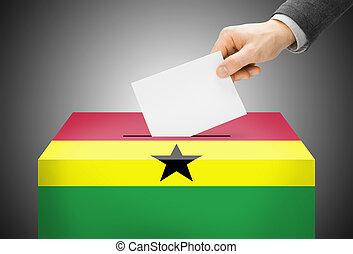 caja, ghana, concepto, pintado, nacional, -, bandera,...