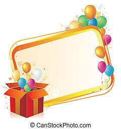 caja, globo, regalo