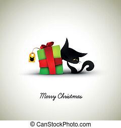 caja, grande, ella, regalo, mascota, saludo, rotulado, ...
