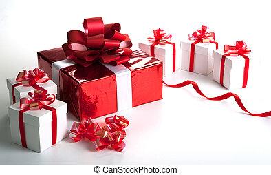 caja, gris, regalo, uno, cajas, rojo blanco