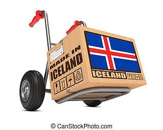 caja, hecho, islandia, -, mano, cartón, truck.