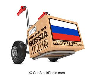 caja, hecho, -, mano, cartón, truck., rusia