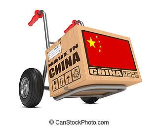 caja, hecho, -, mano, china, cartón, truck.