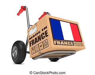 caja, hecho, -, mano, francia, cartón, truck.