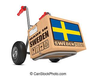 caja, hecho, -, mano, suecia, cartón, truck.