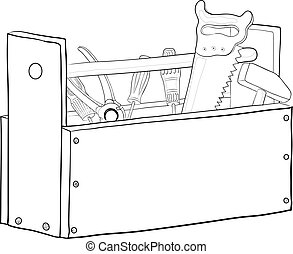 caja, herramienta, contornos