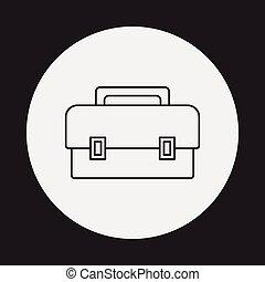caja, herramienta, línea, icono