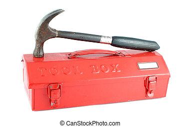 caja, herramienta, rojo