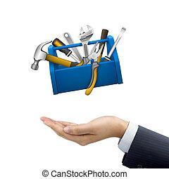 caja, herramientas, hombre de negocios, llevar a cabo la mano