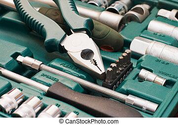 caja, herramientas, vario, juego herramientas