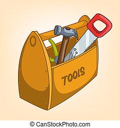 caja, hogar, herramienta, caricatura, misceláneo