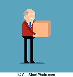 caja, hombre de negocios, proceso de llevar