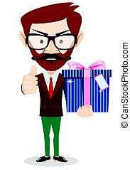 caja, hombre de negocios, tenencia, regalo