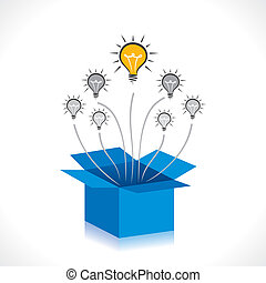 caja, idea, o, nuevo, pensar, afuera