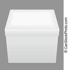 caja, ilustración, embalaje, vector, cerrado, blanco
