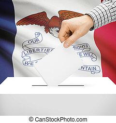 caja, iowa, -, estado, bandera de los e.e.u.u, plano de ...