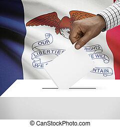 caja, iowa, serie, -, estado, bandera de los e.e.u.u, plano ...