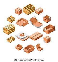 caja, isométrico, conjunto, estilo, embalaje, 3d, icono