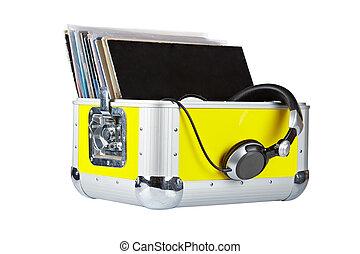caja, jinete, disco, auriculares