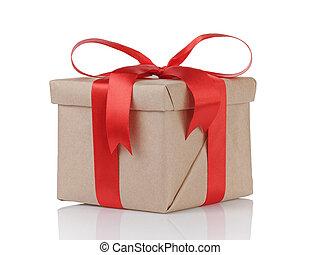 caja, kraft, regalo, uno, papel, envuelto, arco, navidad, rojo