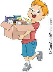 caja, libros