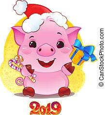 caja, lindo, chino, regalo, símbolo, horoscope., cerdo, año,...