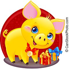 caja, lindo, chino, regalo, símbolo, terroso, amarillo,...