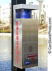 caja, llamada, emergencia