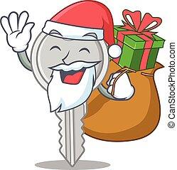 caja, llave, caricatura, teniendo, diseño, santa, carácter, regalo