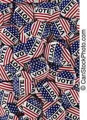 caja, lleno, de, voto, botones