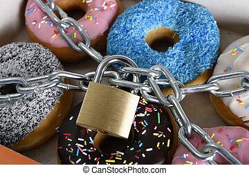 caja, lleno, delicioso, cerradura de cadena, metal, azúcar, ...