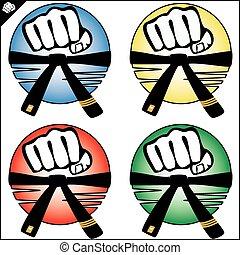 caja, logotipo, mma, puño, karate, potencia, fuerte