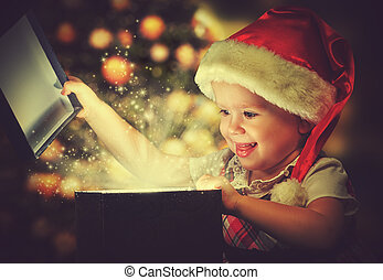 caja, magia, regalo, niño, nena, navidad, milagro