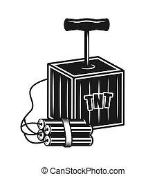 caja, manija, objeto, detonador, vector, dinamita