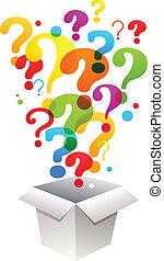 caja, marca, pregunta, iconos