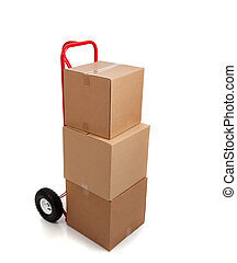 caja, marrón, pegatina, frágil, mudanza, blanco, cartón