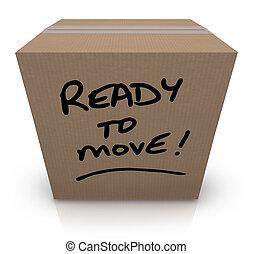 caja, movimiento, recolocación, mudanza, listo, cartón