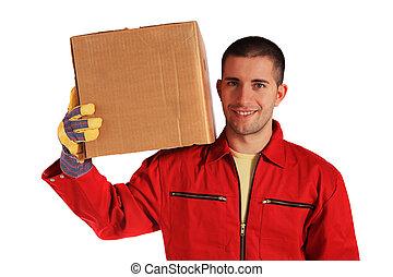 caja, mudanza, proceso de llevar