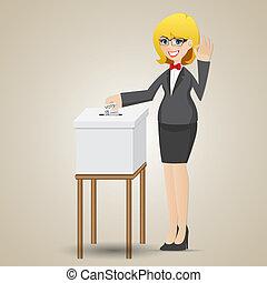 caja, mujer de negocios, votación, papeleta, caricatura