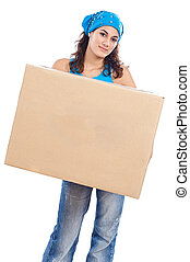caja, mujer