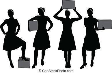 caja, mujer, proceso de llevar, silueta